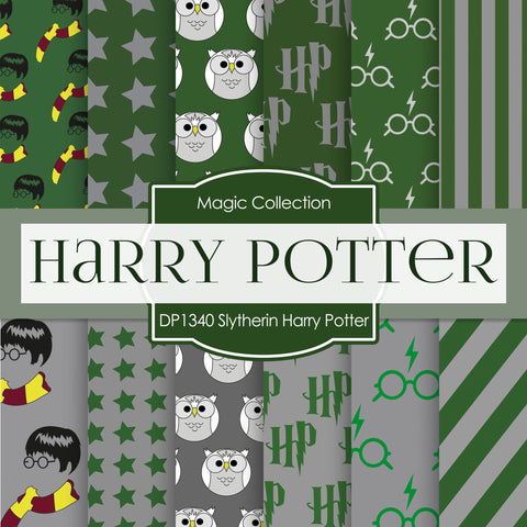 Slytherin Harry Potter Digital Paper DP1340 - Digital Paper Shop - 1