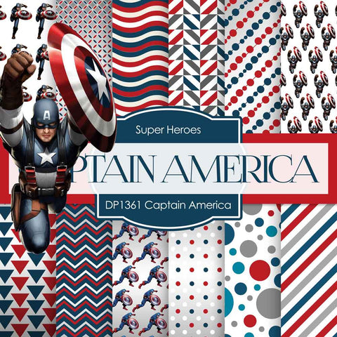 Captain America Digital Paper DP1361 - Digital Paper Shop - 1