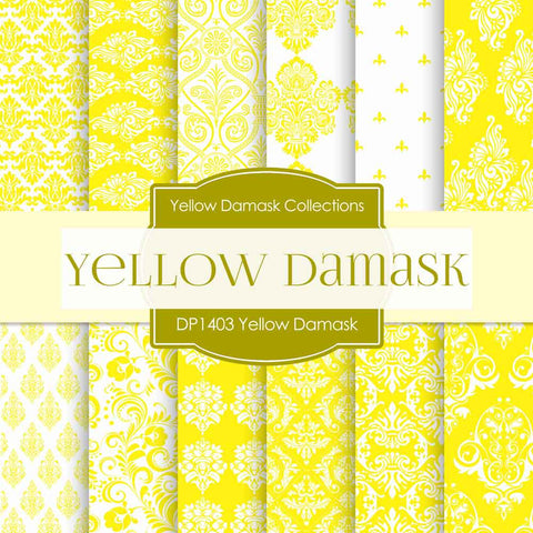 Yellow Damask Digital Paper DP1403 - Digital Paper Shop - 1