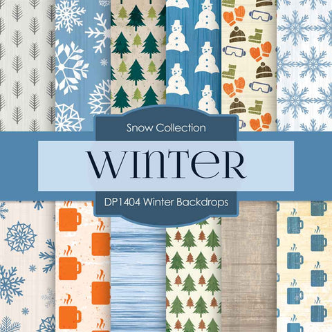 Winter Backdrops Digital Paper DP1404 - Digital Paper Shop - 1