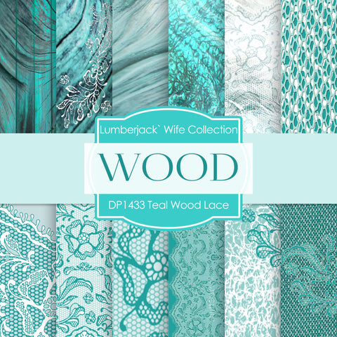 Teal Wood Lace Digital Paper DP1433 - Digital Paper Shop - 1