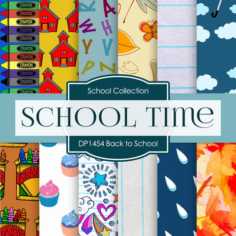 Back To School Digital Paper DP1454 - Digital Paper Shop - 1