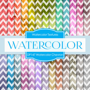 Water Color Chevron Digital Paper DP147 - Digital Paper Shop - 1