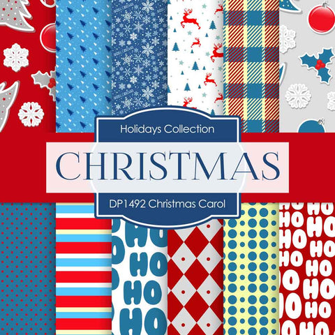Christmas Carol Digital Paper DP1492 - Digital Paper Shop - 1