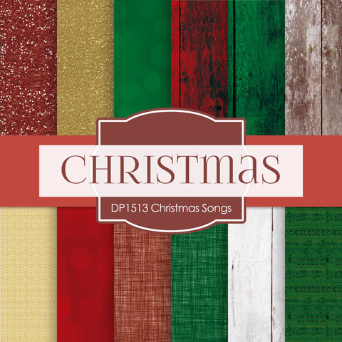 Christmas Songs Digital Paper DP1513 - Digital Paper Shop - 1