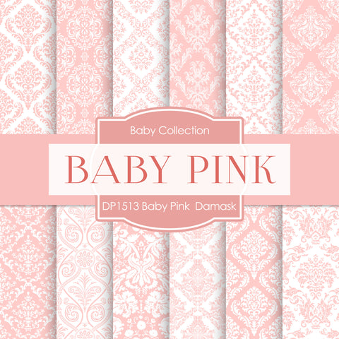 Baby Pink Damask Digital Paper DP1513A - Digital Paper Shop - 1