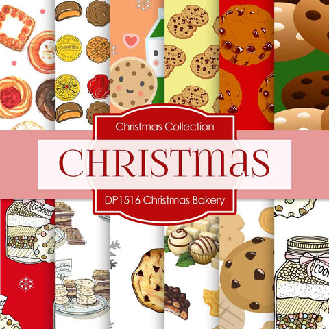 Christmas Bakery Digital Paper DP1516 - Digital Paper Shop - 1