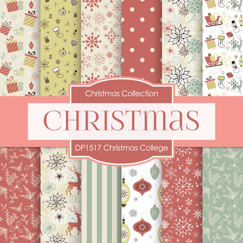 Christmas College Digital Paper DP1517 - Digital Paper Shop - 1