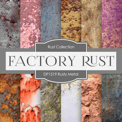 Rusty Metal Digital Paper DP1519 - Digital Paper Shop - 1