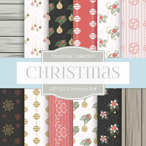 Christmas Roll Digital Paper DP1521A - Digital Paper Shop - 1