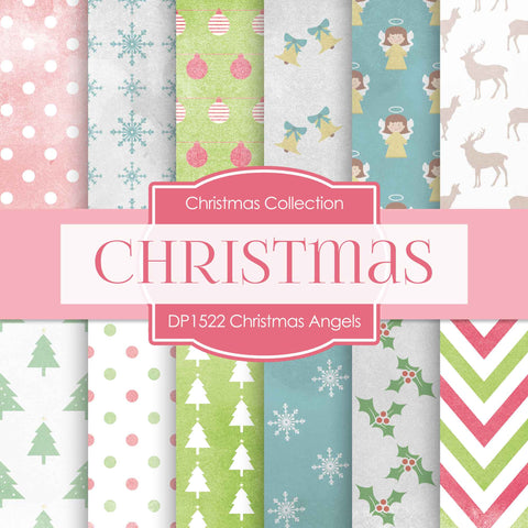 Christmas Angels Digital Paper DP1522A - Digital Paper Shop - 1