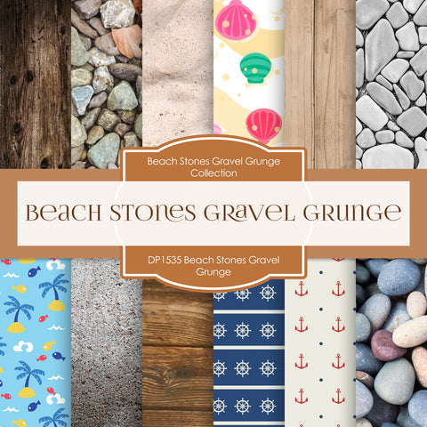 Beach Stones Gravel Grunge Digital Paper DP1535