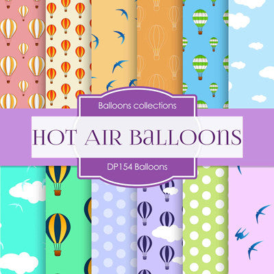 Hot Air Balloons Digital Paper DP154 - Digital Paper Shop - 1