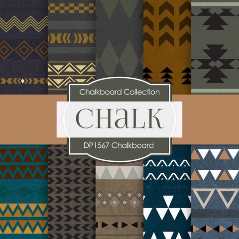Chalkboard Tribal Digital Paper DP1567 - Digital Paper Shop - 1