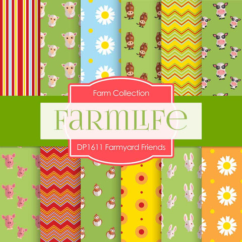 Farmyard Friends Digital Paper DP1611 - Digital Paper Shop - 1