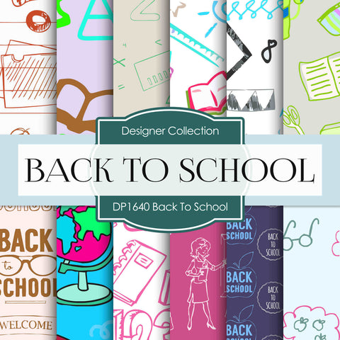 Back To School Digital Paper DP1640 - Digital Paper Shop - 1