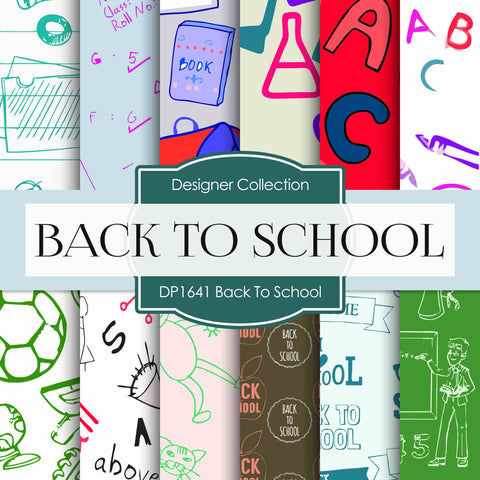 Back To School Digital Paper DP1641 - Digital Paper Shop - 1