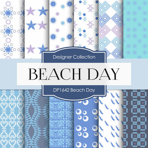Beach Day Digital Paper DP1642 - Digital Paper Shop - 1