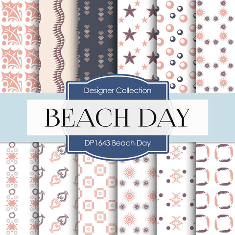 Beach Day Digital Paper DP1643 - Digital Paper Shop - 1