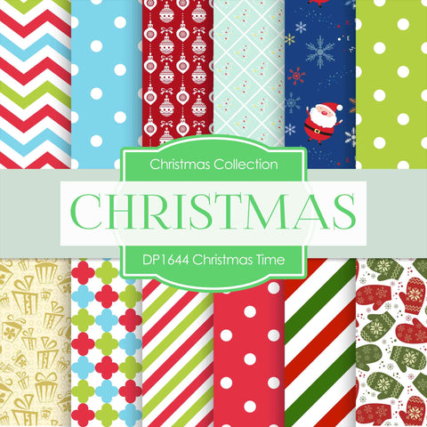 Christmas Time Digital Paper DP1644 - Digital Paper Shop - 1