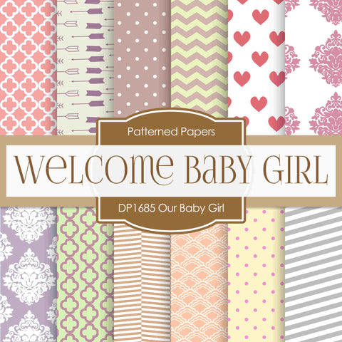 Our Baby Girl Digital Paper DP1685 - Digital Paper Shop - 1