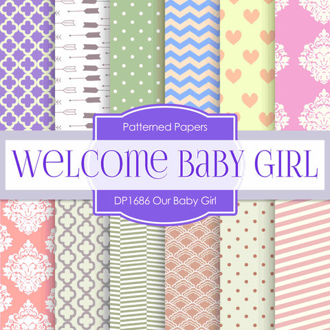 Our Baby Girl Digital Paper DP1686 - Digital Paper Shop - 1