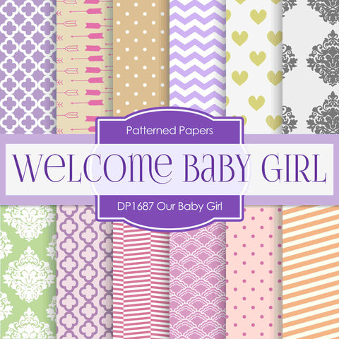 Our Baby Girl Digital Paper DP1687 - Digital Paper Shop - 1