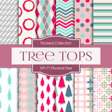 Flocked Tree Digital Paper DP171 - Digital Paper Shop - 1