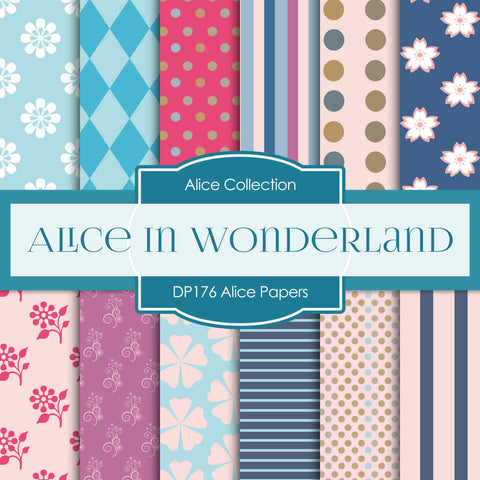 Alice In Wonderland Digital Paper DP176 - Digital Paper Shop - 1