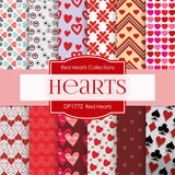 Red Hearts Digital Paper DP1772 - Digital Paper Shop - 1