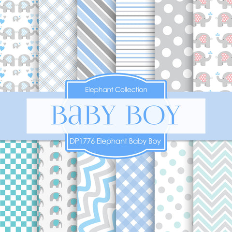 Elephant Baby Boy Blue And Gray Digital Paper DP1776 - Digital Paper Shop - 1