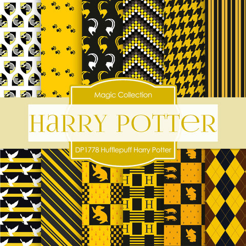 Hufflepuff Harry Potter Digital Paper DP1778 - Digital Paper Shop - 1