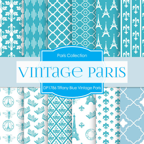 Tiffany Blue Vintage Paris Digital Paper DP1786 - Digital Paper Shop - 1