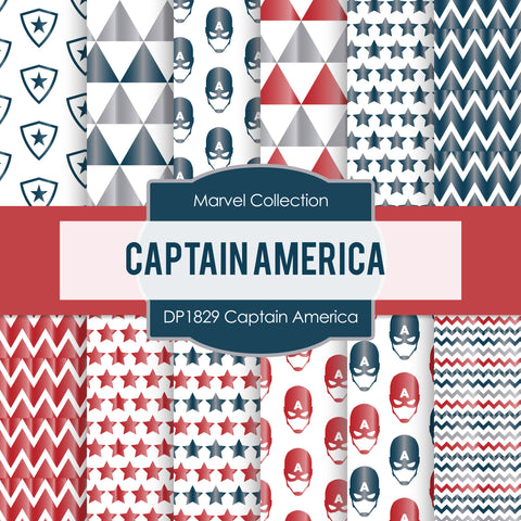 Captain America Digital Paper DP1829 - Digital Paper Shop - 1