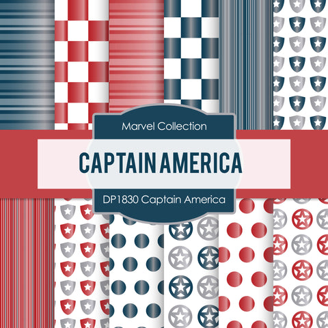 Captain America Digital Paper DP1830 - Digital Paper Shop - 1