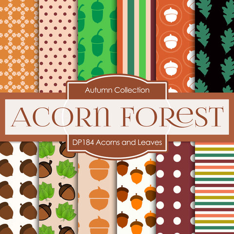 Acorn And Leaves Digital Paper DP184 - Digital Paper Shop - 1