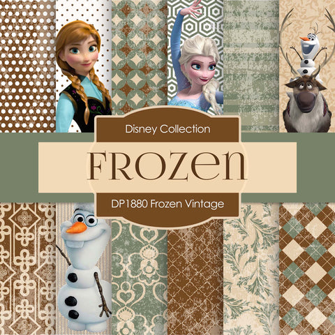 Frozen Vintage Digital Paper DP1880 - Digital Paper Shop - 1