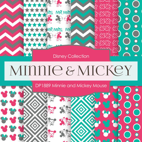 Minnie and Mickey Mouse Digital Paper DP1889 - Digital Paper Shop - 1
