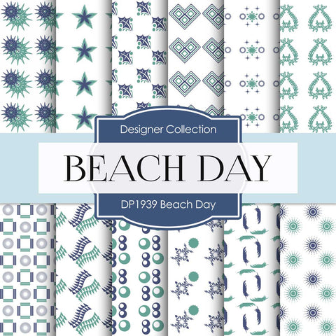 Beach Day Digital Paper DP1939 - Digital Paper Shop - 1