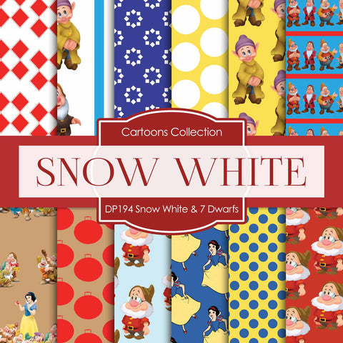 Snow White  and 7 Dwarfs Digital Paper DP194 - Digital Paper Shop - 1