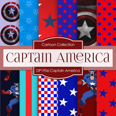 Captain America Digital Paper DP1956 - Digital Paper Shop - 1