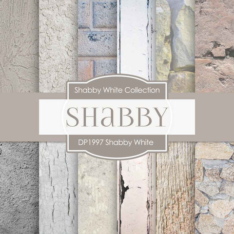 Shabby White Digital Paper DP1997 - Digital Paper Shop - 1