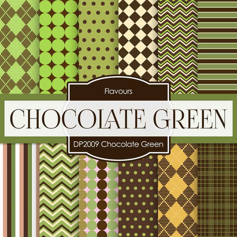 Chocolate Green Digital Paper DP2009 - Digital Paper Shop - 1