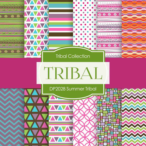 Summer Tribal Digital Paper DP2028 - Digital Paper Shop