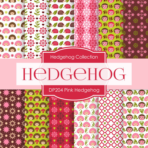 Pink Hedgehog Digital Paper DP204 - Digital Paper Shop - 1