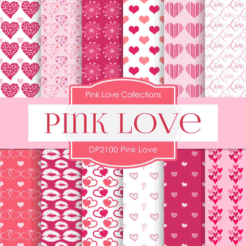 Pink Love Digital Paper DP2100 - Digital Paper Shop - 1