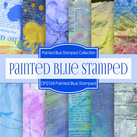 Painted Blue Stamped Texture Digital Paper DP2104 - Digital Paper Shop - 1
