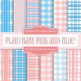 Plaid Baby Pink and Blue Digital Paper DP2105 - Digital Paper Shop - 1