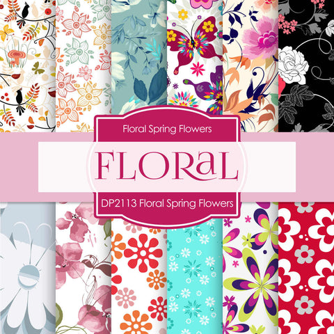 Floral Spring Flowers Digital Paper DP2113 - Digital Paper Shop