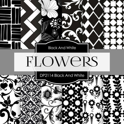 Black And White Flowers Digital Paper DP2114 - Digital Paper Shop - 1